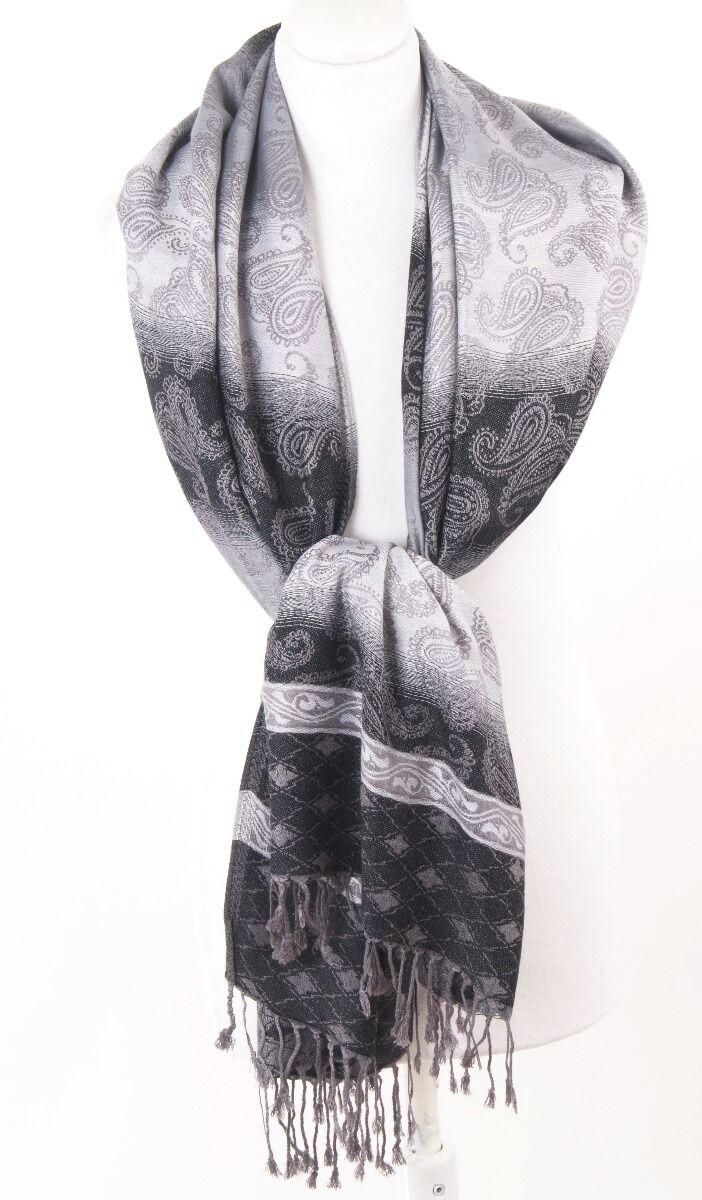 Pashmina sjaal met ingeweven paisley in zwart en wit