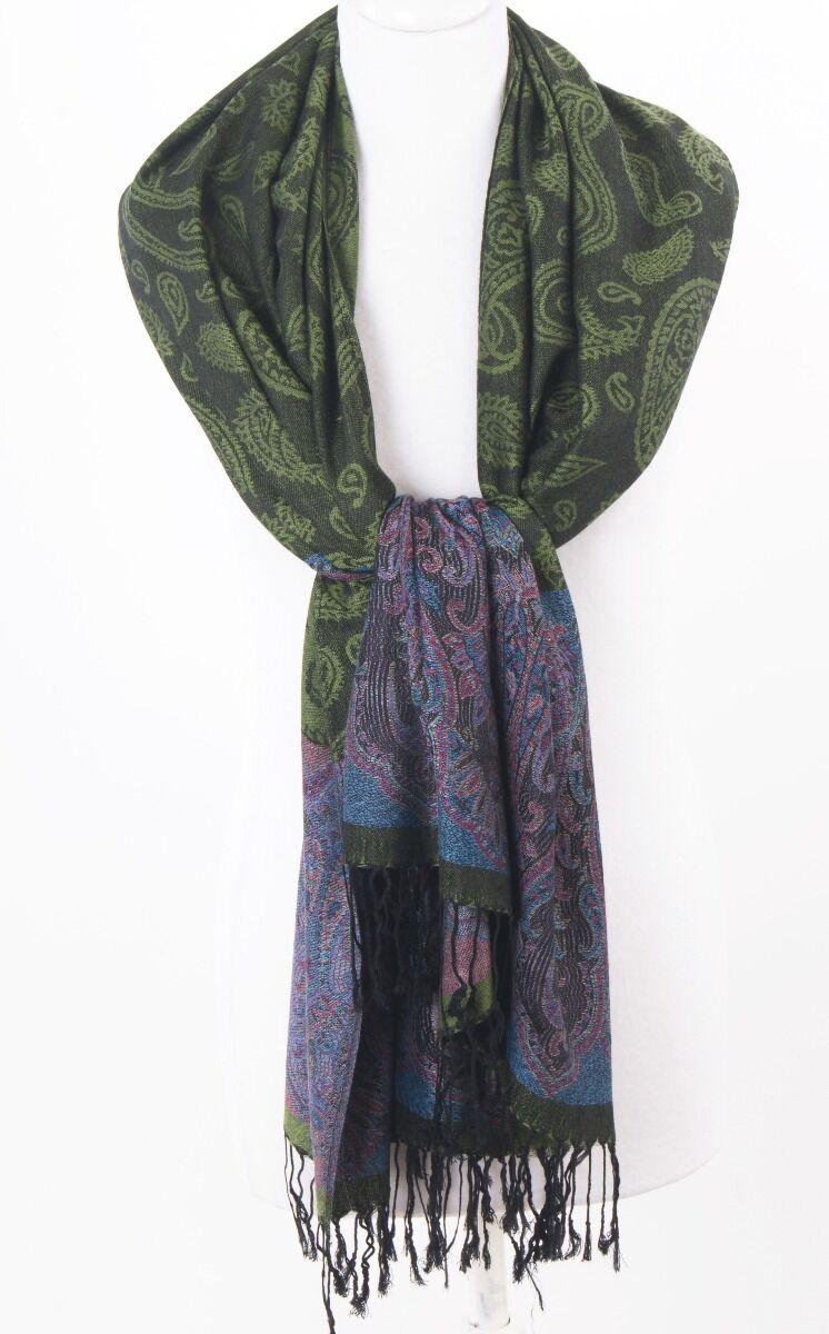 Groene pashmina sjaal met ingeweven paisley