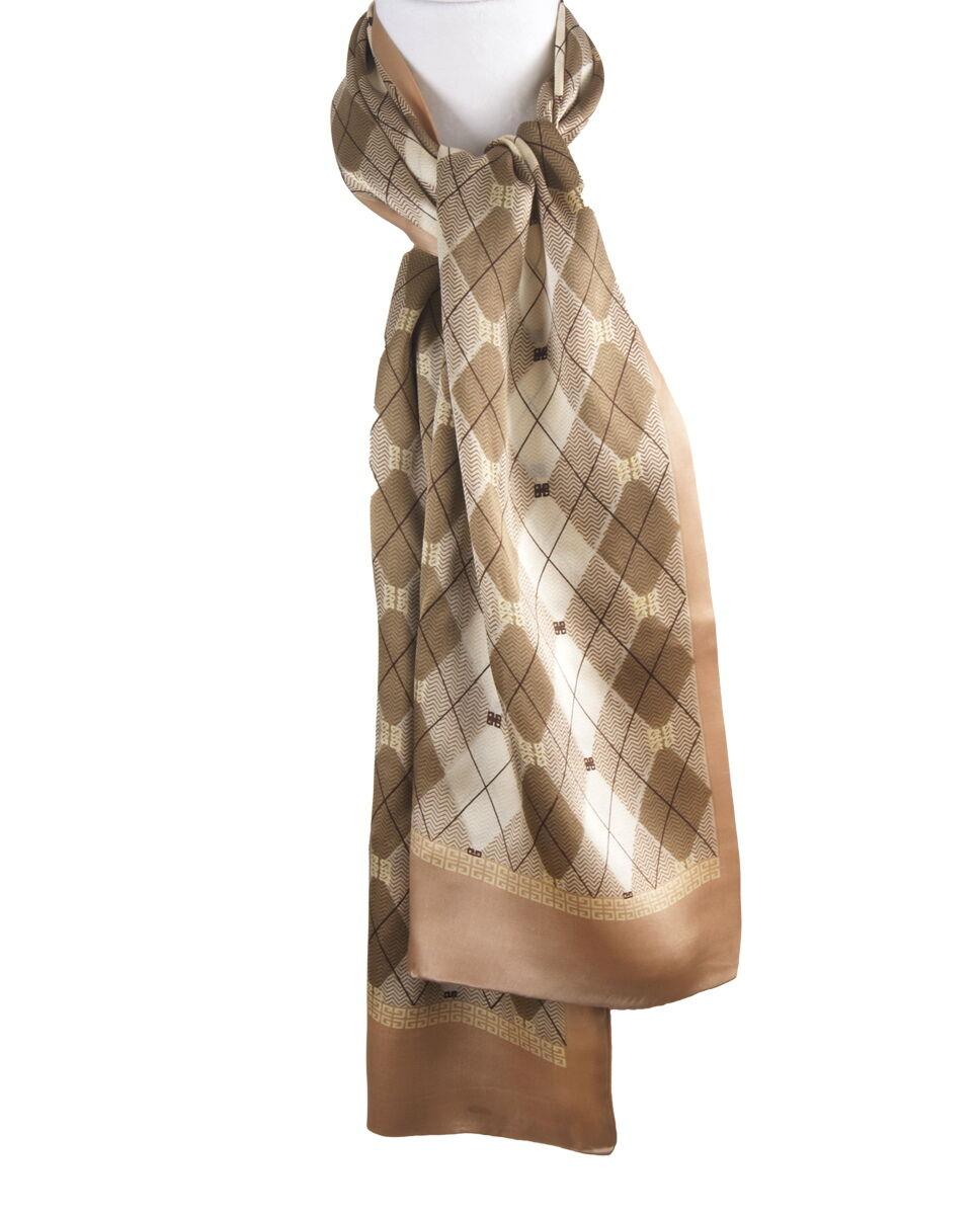 Goudkleurige zijden sjaal met ruit patroon