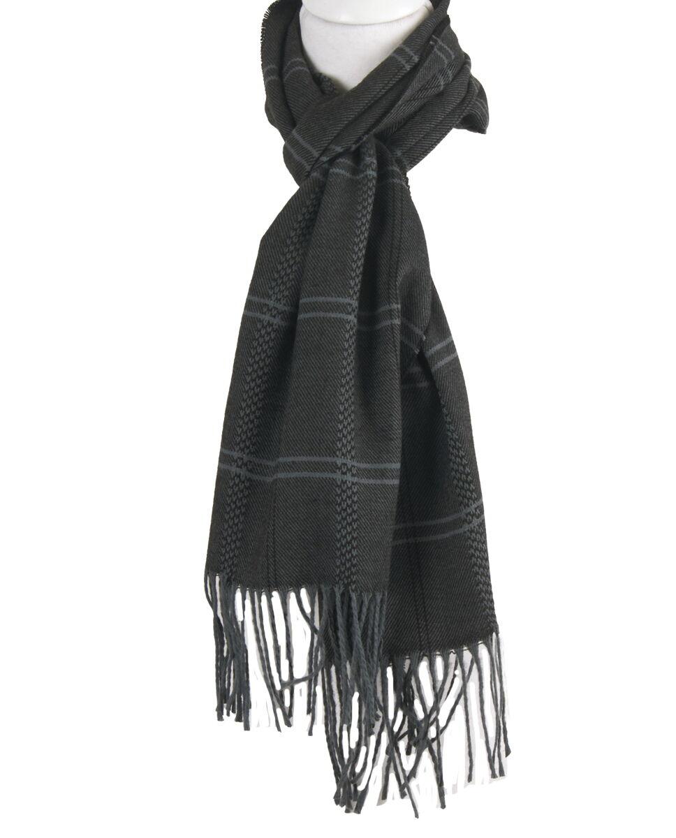 Zwarte sjaal met ruitpatroon in donkergrijs