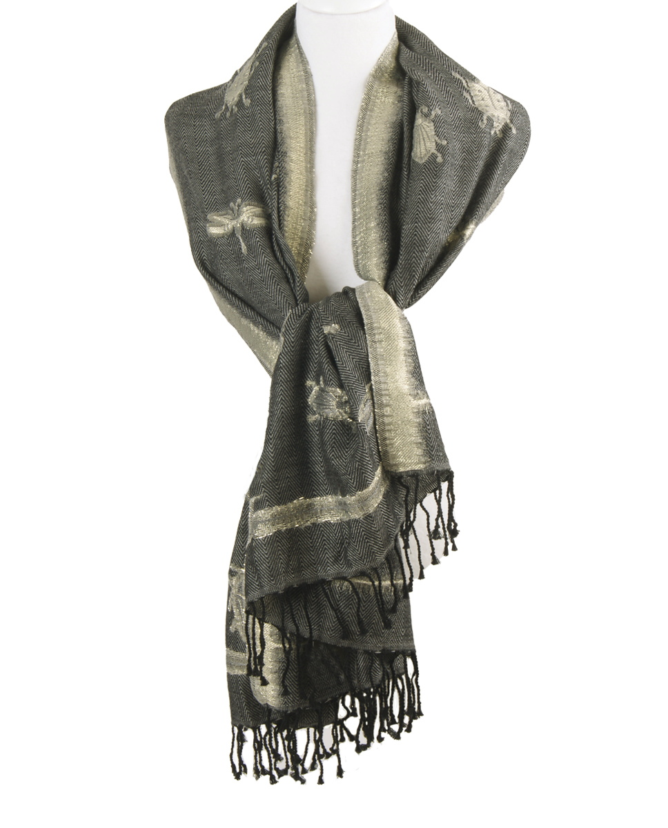 Gem�leerde sjaal in grijs-zwart met geweven insectenpatroon