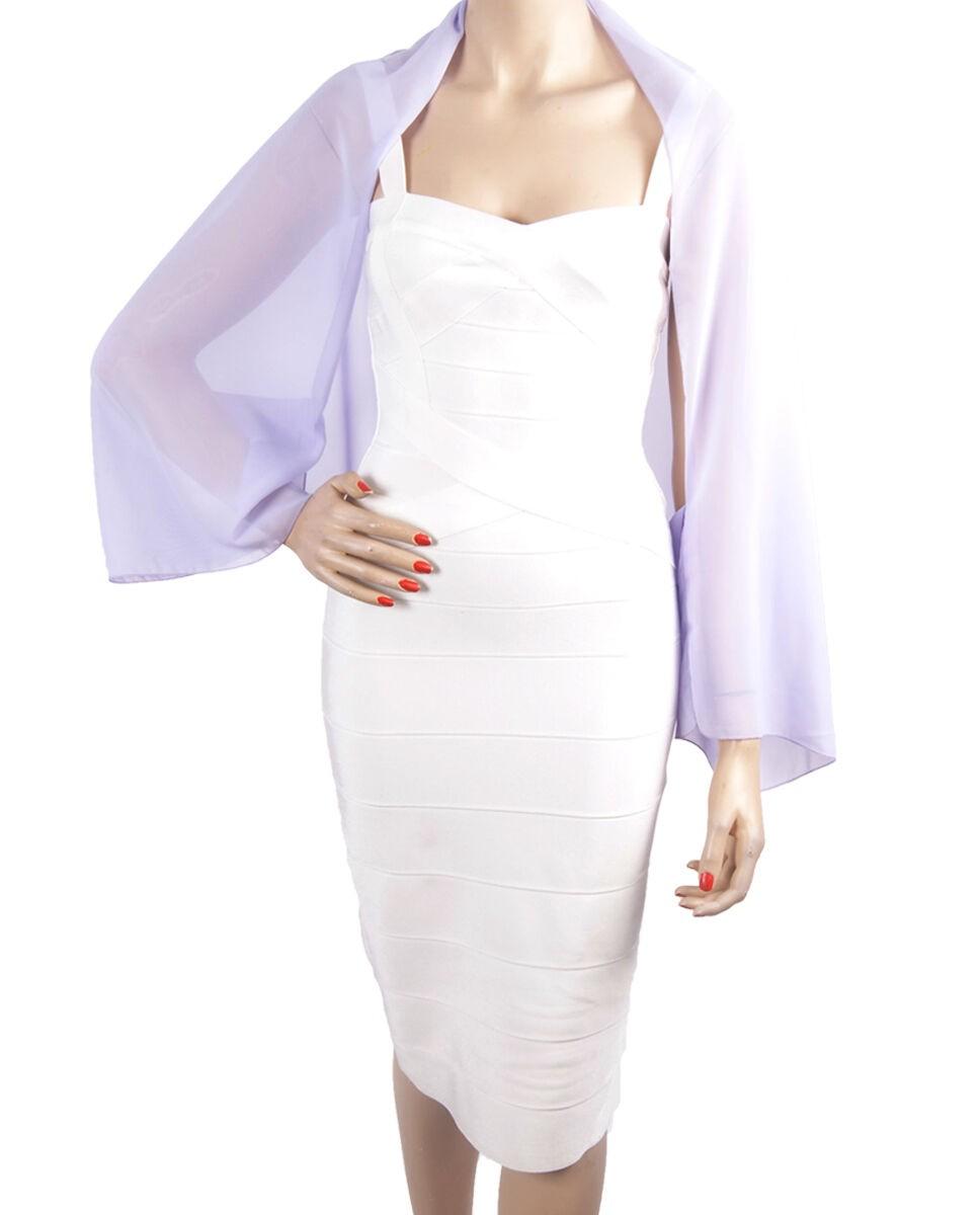5134ad1537000 Korte bolero stola van effen licht lavendelkleurige soepelvallende crêpe  voile. one size