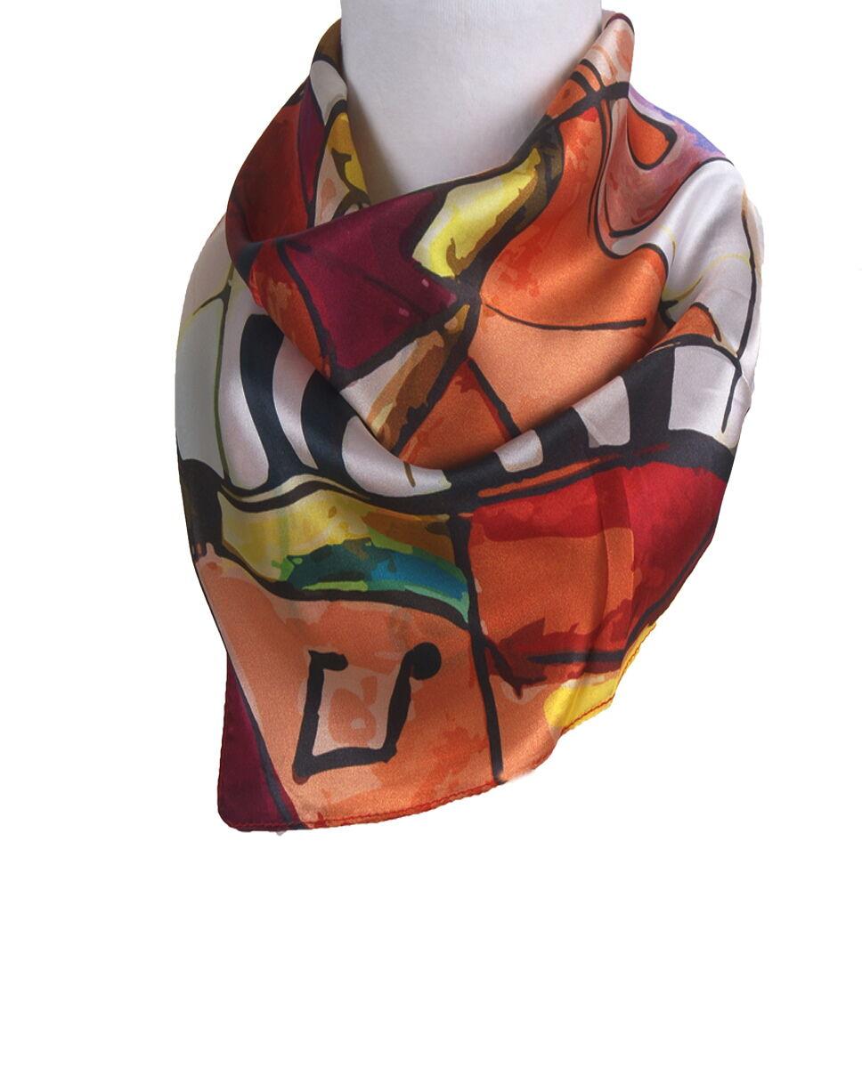 Vierkant zijden sjaaltje met muziek thema