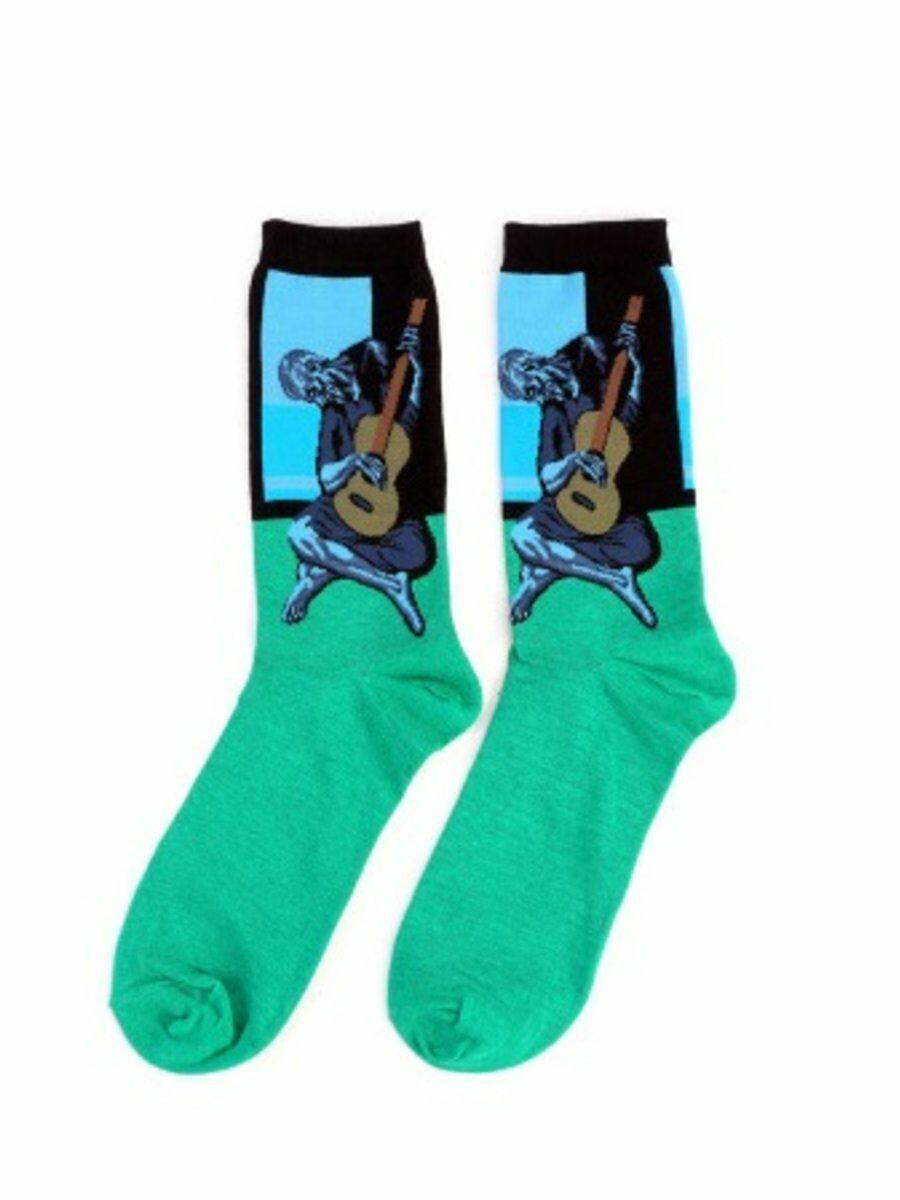 """Art sokken met """"The old guitarist"""" van Picasso in blauw-groen"""