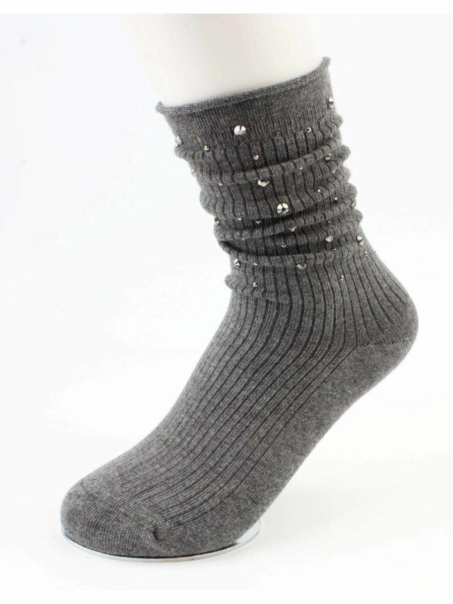 Grijze sokken met strass steentjes
