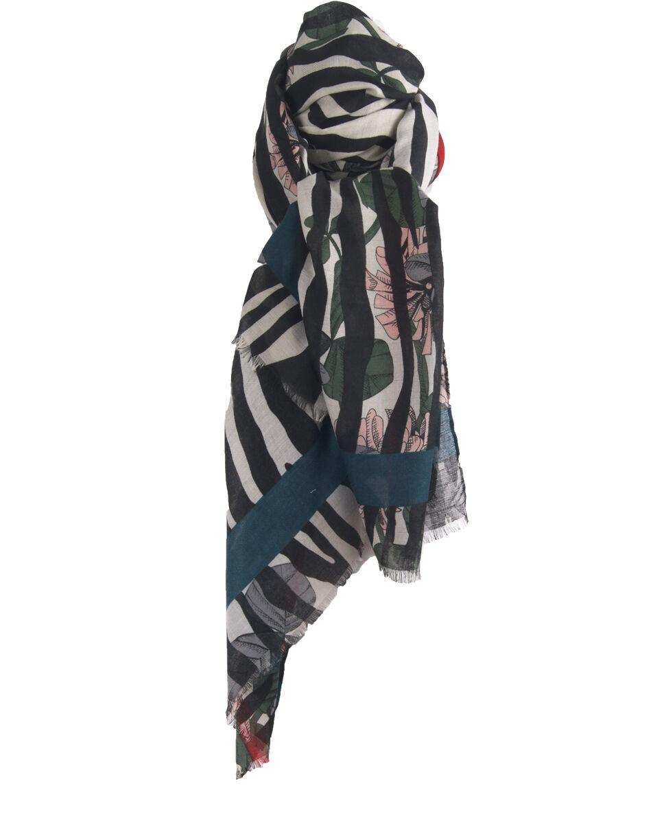 Sjaal met zebra-en bloemenprint in zwart en wit