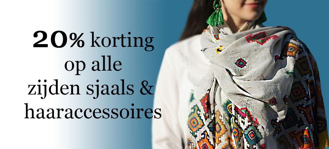 20% korting op zijden sjaals & haaraccessoires